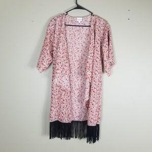 """🍂Lularoe """"Monroe"""" Floral Fringe Open Kimono Small"""